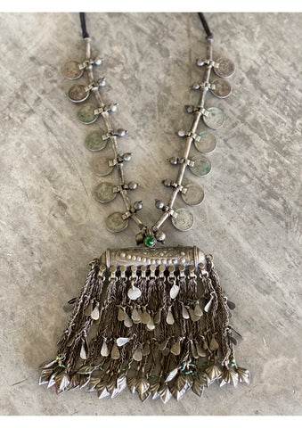 Huge fringe amulet necklace