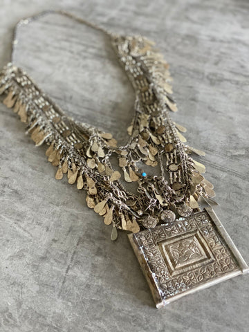 Longline fringe amulet necklace
