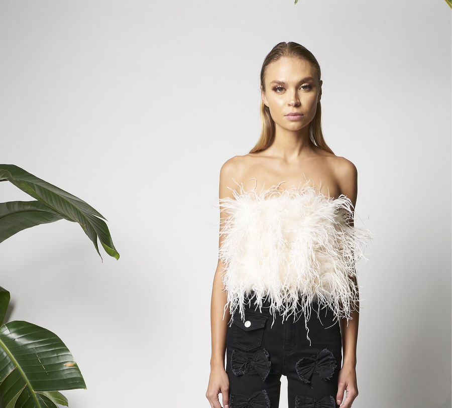 Faux pearl-trimmed ostrich feather top