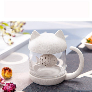 Cute Cat Little Monkey Glass Cup Filter Cup With