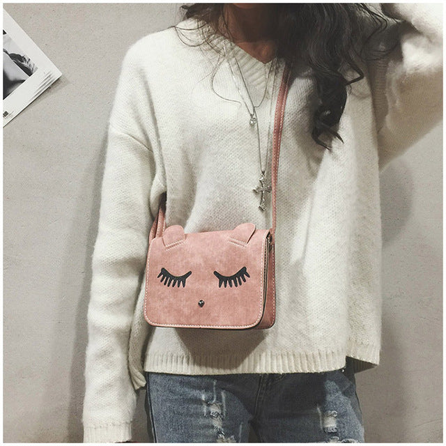 Fashion Women Messenger Bags lovely Cat print
