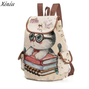 Lovely Cat Printed Drawstring Cat Backpack