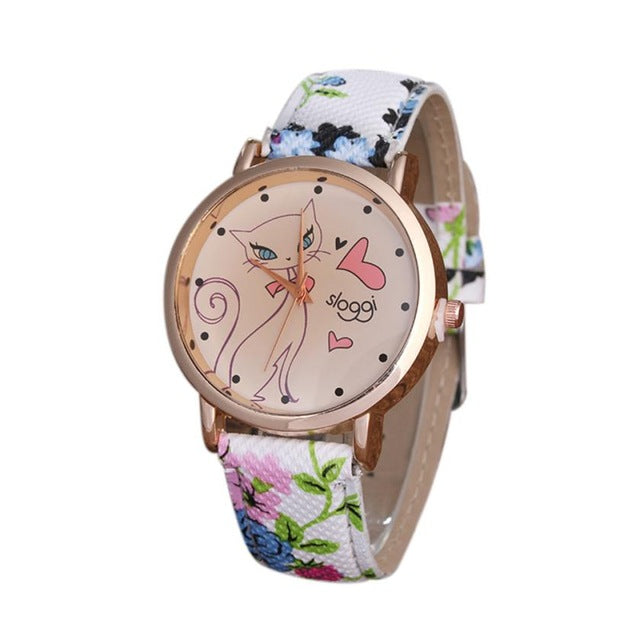 Feminino Women Cute Cat PU Leather Band Analog