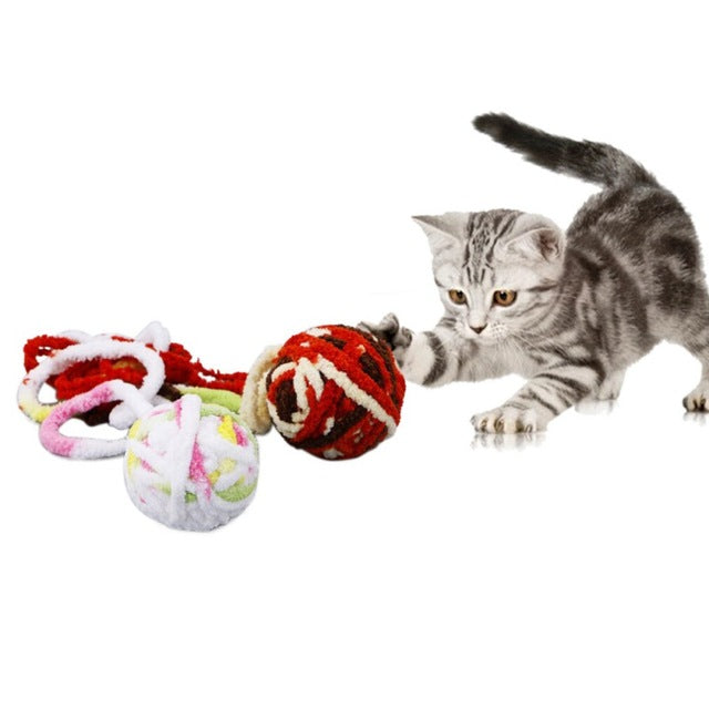Wool Ball Toy Pet Cat Kitten Teaser Playing Play