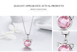 BAMOER Genuine 925 Sterling Silver Cute Cat Pendant Necklaces with Pink Zircon for Women