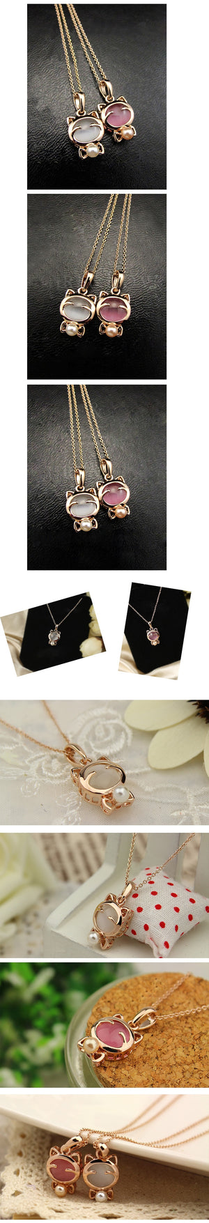 Lucky Cat Opal Cat Pendant Necklace