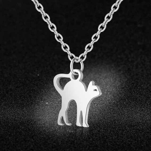 Steel  Animal Cat Sea Gull Butterfly Monkey Pendant Necklace for Women