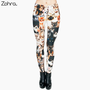 Fashion Animal Shapes Cats 3D Full Printing Punk Women Legging (One size)