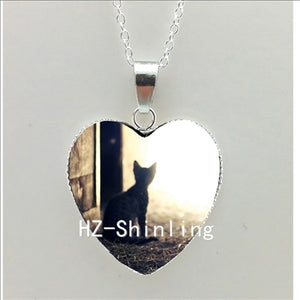 New Cat Silhouette Heart Necklace Black Cat