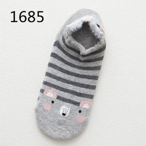 Cute Animal Cotton Socks Female Kawaii Cat With Dog Summer Short Socks Slippers Women Casual