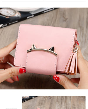 Cute Cat Ears Leather Vintage Tassel Women Wallet