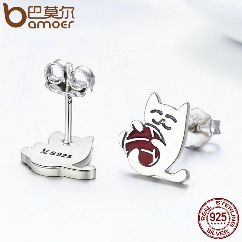 Silver Exquisite Ball of yarn Cat Stud Earrings for Women