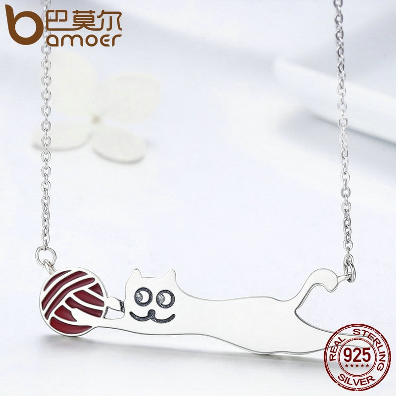 Silver Little Naughty Cat Long Pendant Necklace