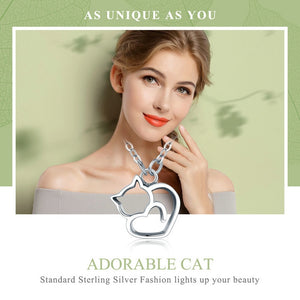 Silver Lovely Cat Exquisite Women Pendant Necklace