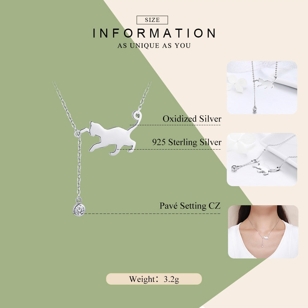 Fashion Genuine 925 Sterling Silver Cute Pet Pussy Cat Chain Pendant Necklace for Women