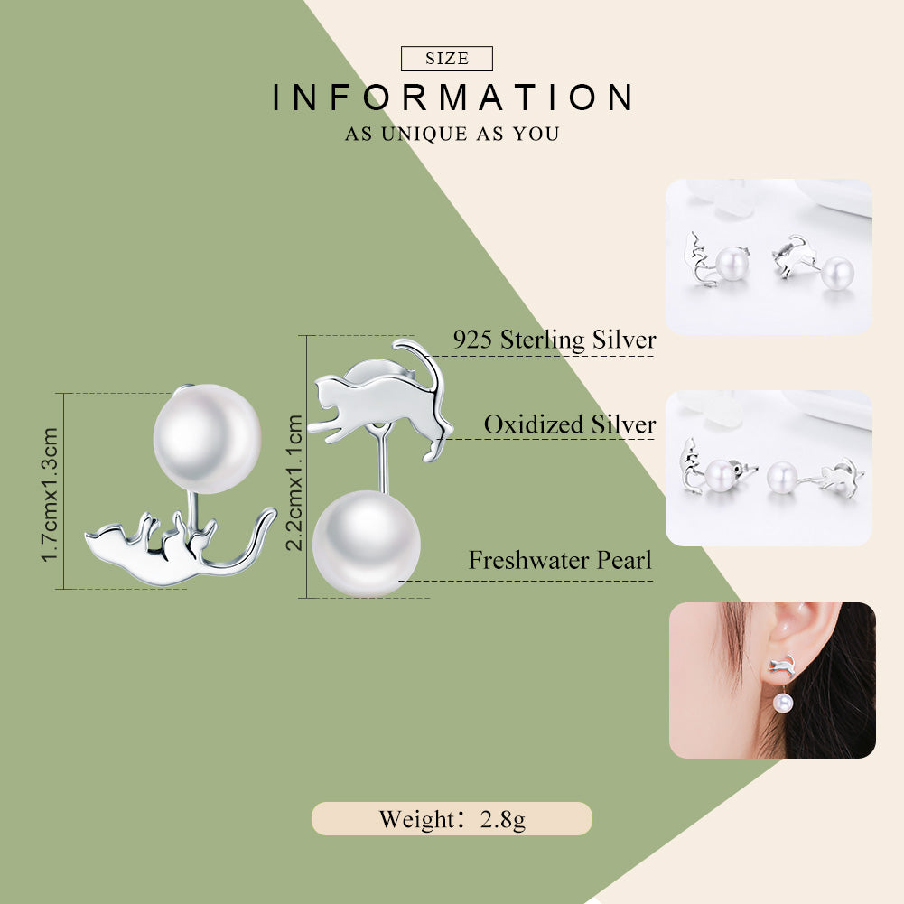 BAMOER 100% 925 Sterling Silver Cute Cat Pussy Tail Exquisite Stud Earrings for Women