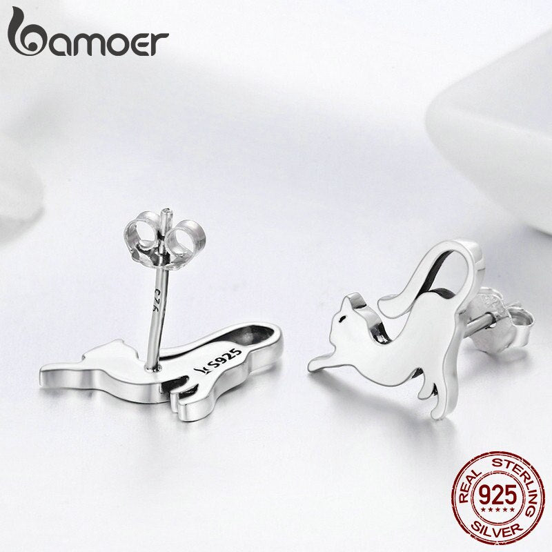 BAMOER 100% 925 Sterling Silver Cute Cat Pussy Tail Small Stud Earrings for Women