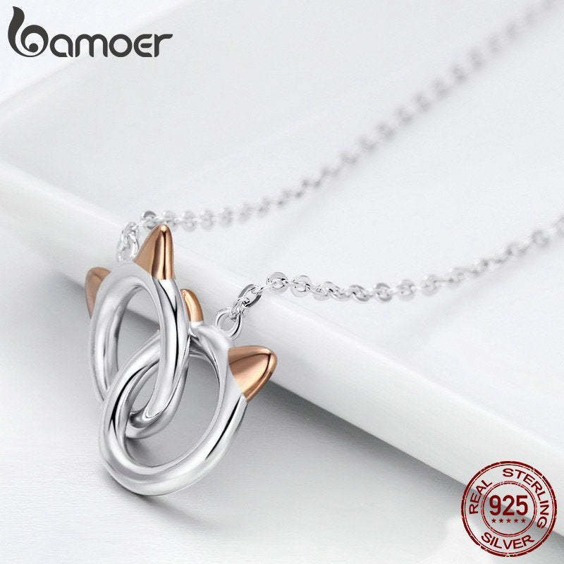 Silver Pet Cat Handcuffs Cute Animal Pendant Necklaces