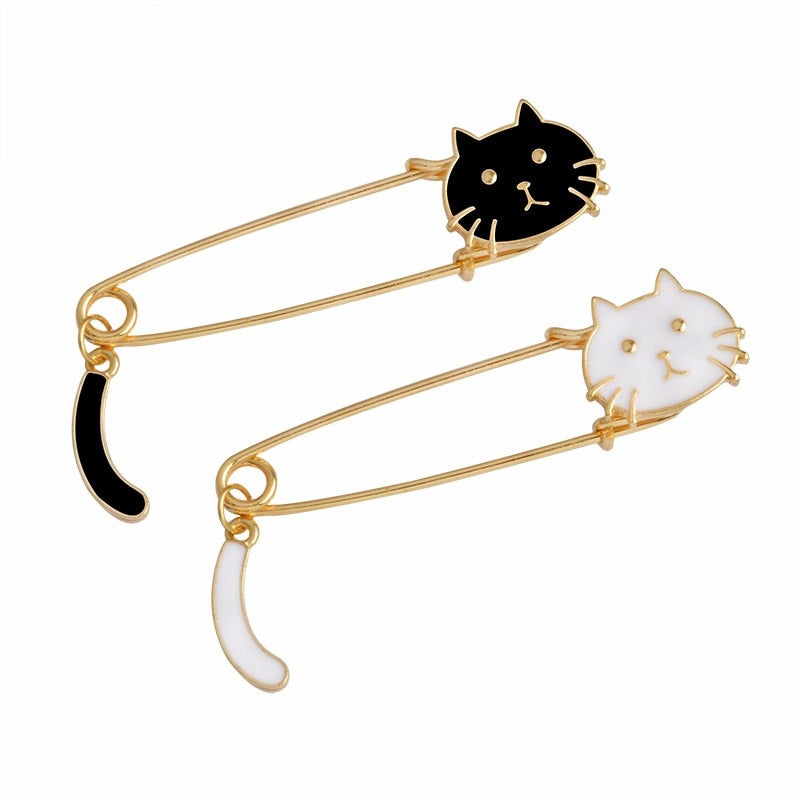 Black White cat brooches Backpack Jacket Accessories Jewelry Cat jewelry