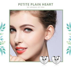 925 Sterling Silver Petite Plain Hearts Stud Earrings for Women