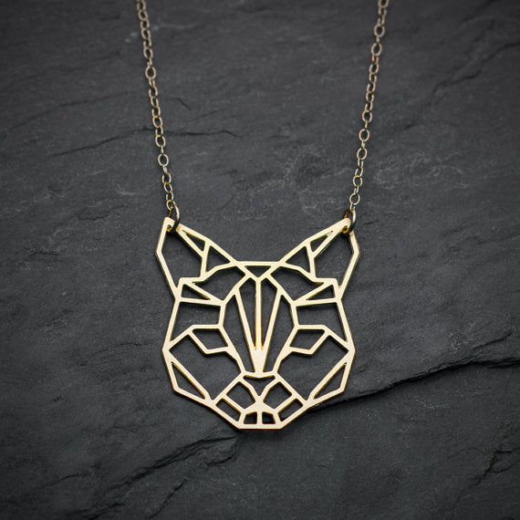 Geometric Cat Pendant Necklace Cat Jewelry Unique Cat