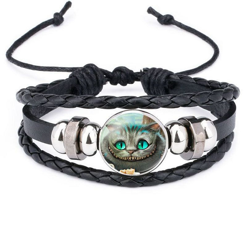 Harajuku Style  Cat Jewelry with Glass Cabochon Cheshire Cat Pattern