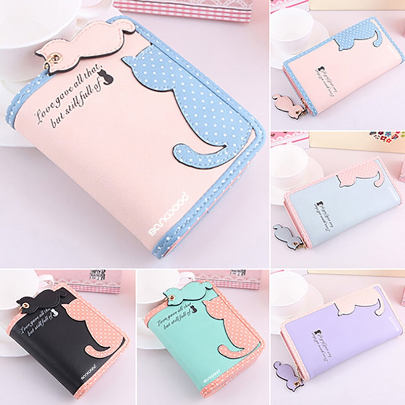 Lady Cute Carton Cat Pandent Short Long Purse Card Holder Zipper Coin Bag Wallet 9XZE