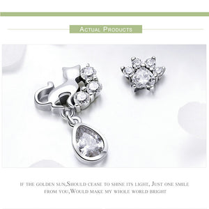 925 Sterling Silver Dazzling CZ Guardian Cat Stud Earrings for Women