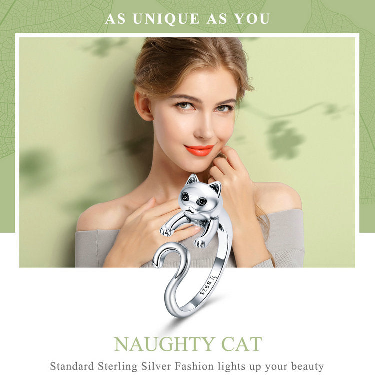 Silver Long Tail Naughty Cat Finger Rings for Women