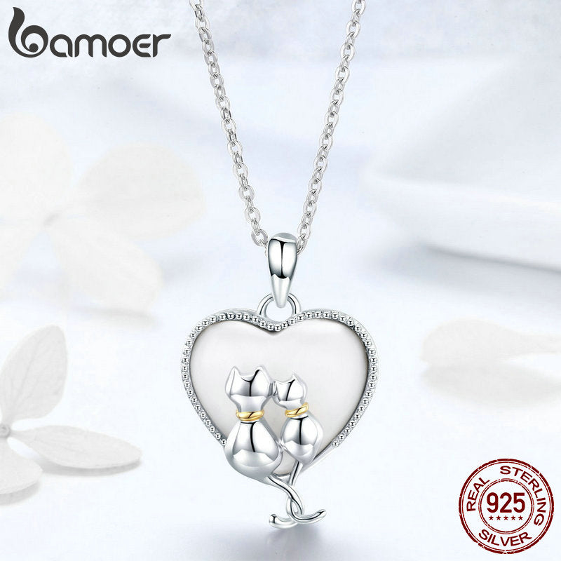 BAMOER 925 Sterling Silver Couple Cat Necklaces Pendant for Women