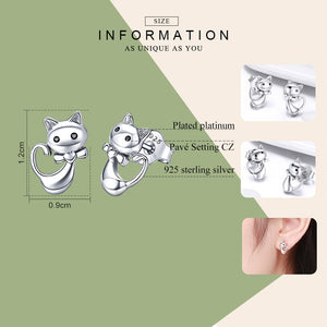 925 Sterling Silver Sticky Cat Animal Small Stud Earrings for Women