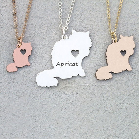 Longhaired Cat Necklace Pet Cat Jewelry Personalized Names