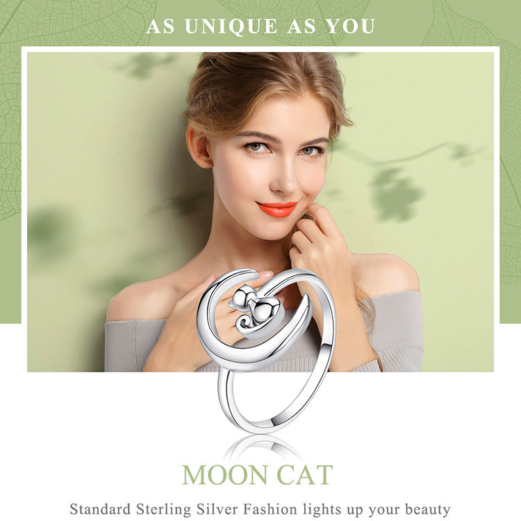 Silver Moon Cat Open Size Adjustable Finger Rings for Women