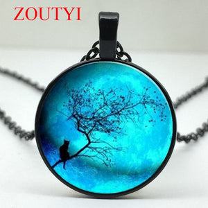 Stylish Blue Moon Twig with Cat Glass Round Pendant Necklace