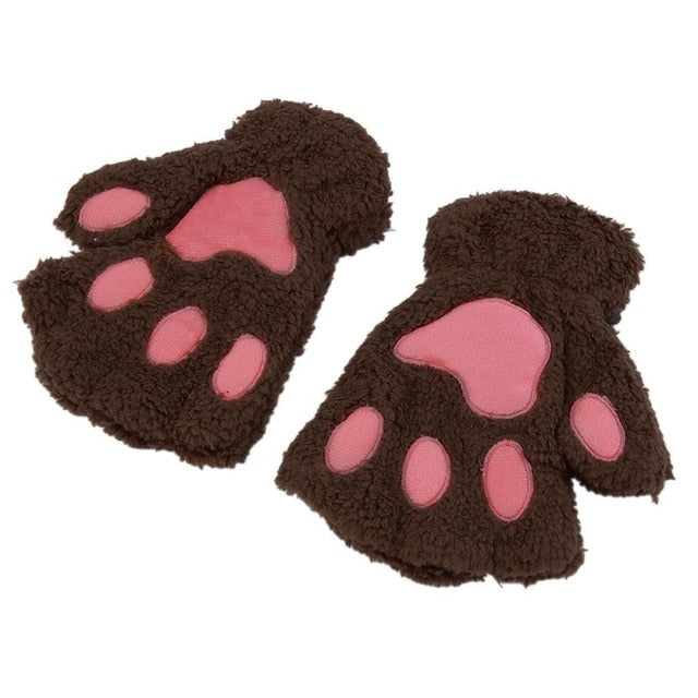Winter Girls Warmth Fingerless Plush Gloves Fluffy Cute Cat Animal Paw