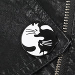 Hugging Yin Yang Cat Pins Black White Two Cats Brooches Yin yang Badges Cat Jewelry Kitty Jewelry