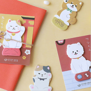 Lucky cat and puppy Memo Pad Cute Kawaii Sticky Notes