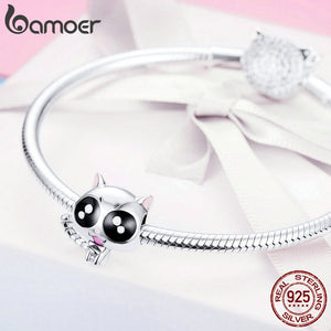BAMOER 925 Sterling Silver Baby Cat Enamel Beads fit Women Charms Bracelets & Bangles