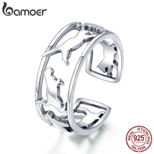 Hot Sale 925 Sterling Silver Playing Cat Pussy Cocktail Finger Rings for Women
