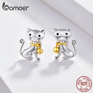 New 925 Sterling Silver Cute Cat Pet Bell Animal Stud Earrings for Women
