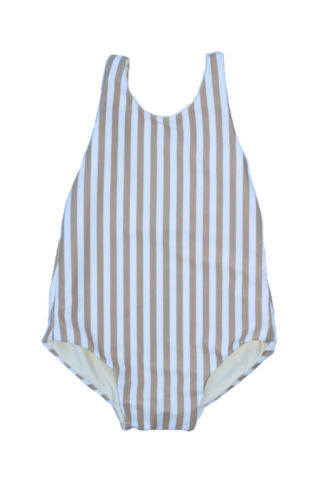 Girl's Amelia Reversible One Piece - Tan Stripe