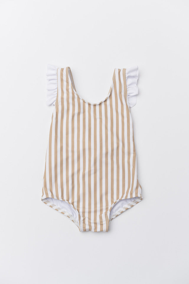 Girl's Aria One Piece - Tan Stripe