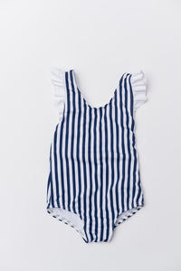 Girl's Aria One Piece - Navy Stripe
