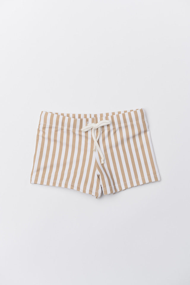 Boy's Dante Swim Trunks - Tan Stripe