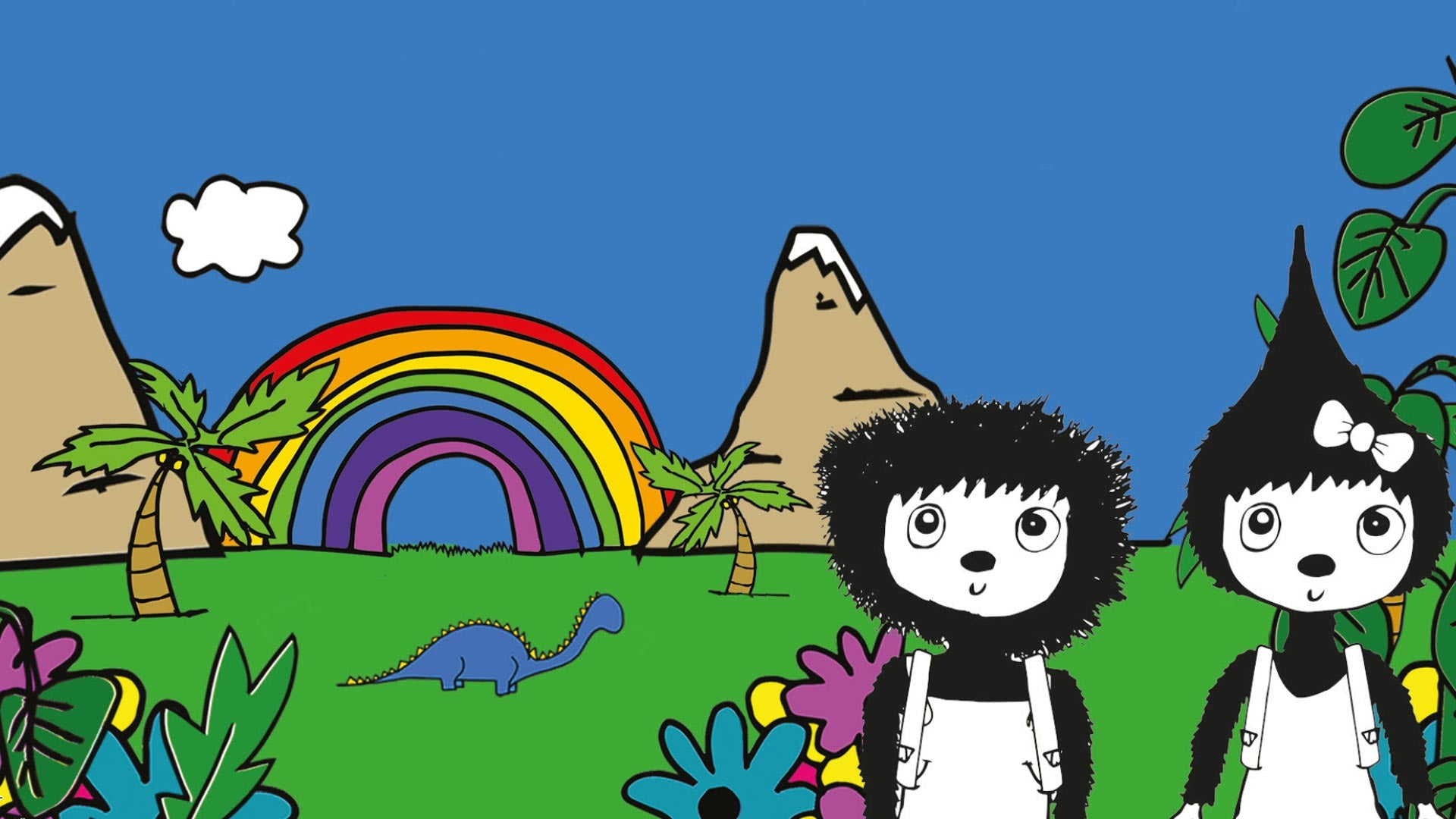Zip and Zoe standing with grass, rainbow, plants and mountains in the background