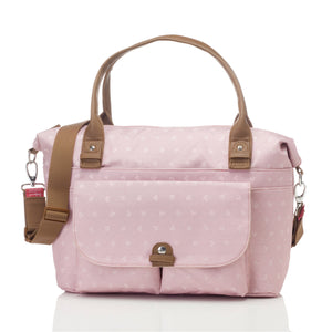 Babymel changing bag, Jade Dusty Pink Origami Heart, front view, baby pink melange, handbag baby bag