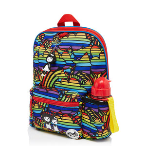 Zip and Zoe by Babymel Kid's backpack age 3+ rainbow multi, front side view | school bags for boys | boys backpack | school bags for girls | backpacks for girls | kids school bags | kids backpacks