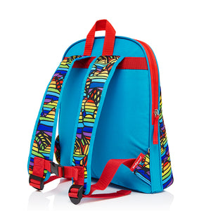 Zip and Zoe by Babymel Kid's backpack age 3+ rainbow multi, back view | school bags for boys | boys backpack | school bags for girls | backpacks for girls | kids school bags | kids backpacks