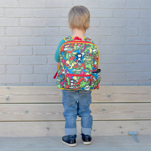 Zip and Zoe by Babymel Kid's backpack age 3+ dino multi, boy wearing backpack | school bags for boys | boys backpack | school bags for girls | backpacks for girls | kids school bags | kids backpacks