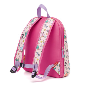 Zip and Zoe by Babymel Kid's backpack age 3+ llama, back view | school bags for girls | backpacks for girls | kids school bags | kids backpacks